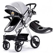 Infant Toddler Baby Stroller Carriage - Cynebaby Compact Pram Strollers Single Stroller add Cup Holder Footmuff Stroller Tray (Gray)