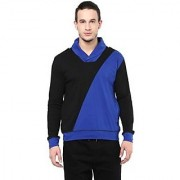 Hypernation Solid Mens Shawl Collar Blue Black T-Shirt
