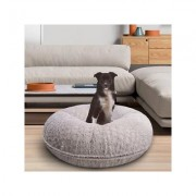 Bessie + Barnie Bagel Bolster Dog Bed w/Removable Cover, Serenity Grey, Small