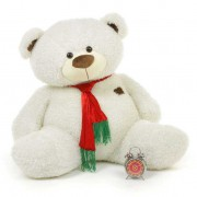 White 3.5 Feet Special Christmas Teddy Bear with tie muffler