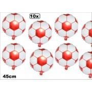 10x Folie ballon voetbal rood/wit 45cm - soccer voetbal club feest toernooi