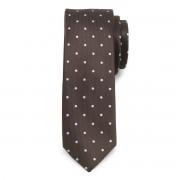 Cravată îngustă maro cu buline 9815