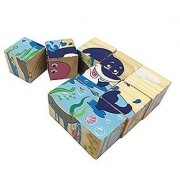 Joyeee 9 Pcs Wooden Cube Block Jigsaw Puzzles - Marine Life Pattern Blocks Puzzle for Child 3 Year and Up -- Perfect Christmas Gift Idea