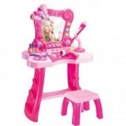 Masuta de toaleta jucarie cu oglinda scaunel accesorii microfon roz