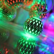 2.7m 3w 20 Leds Luces Con Cadena De Bolas De Metal Decoracion Estilo 76cm Cable Extendido, Ac 12v-240v (luz Colorida)