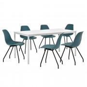 PremiumXL - [en.casa] Dizajn blagovaonski set - stol (bijeli,160x80cm) - sa 6 stolica (tirkizne)