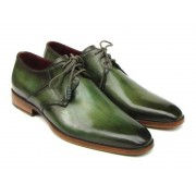 Paul Parkman Hand Painted Leather Upper Leather Sole Derby Shoes Green 059-GREEN