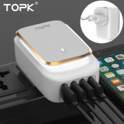 TOPK L-Power 4-Port 4.4A 22W USB Charger Adapter LED Lamp Auto-ID Portable Phone Travel Wall Charger - EU Plug