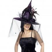 Smiffys Paarse Halloween hoed heks