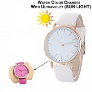 Skylofts Analogue Watche Solar Colour Changing Kids Watch Pink White Dial For Girls (White to Pink)