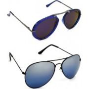 Hrinkar Clubmaster Sunglasses(Blue, Silver)