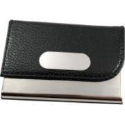 Golden Feather High Quality Card Holders   Stylish Full Black Leatherite and Leatherite piece Silver Metal Business Credit/debit/ATM/ID/Visiting card holder SUPER SLEEK, STURDY : Model CH15 : 15 Card Holder(Set of 1, Black)