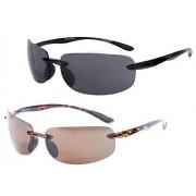 Mass Vision Lovin Maui anteojos de sol polarizadas para hombre y mujer, 2 pares de anteojos de sol polarizadas, No polarizado, color negro y tortuga., M