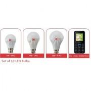 Alpha 10 LED Bulb Free Mobile Phone Combo (5W-4 pcs 9W-2 pcs 12W-4 pcs.)
