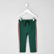 River Island Toddler Boys dark Green tape tracksuit bottoms - Size 3 -