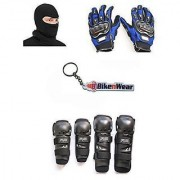 Combo Pack For Fox Knee Elbow Guard +Gloves Blue-XL+Face Mask With Key Chain