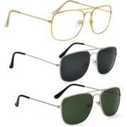 Phenomenal Aviator Sunglasses(Clear, Black, Green)