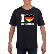 Shoppartners Zwart I love Duitsland fan shirt kinderen