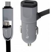 Incarcator Auto 4smarts 3.4A MicroUSB and Type-C Multicord Black cablu incorporat 1m