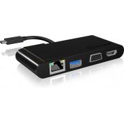 ICY BOX IB-DK403-C USB 3.0 (3.1 Gen 1) Type-C Zwart