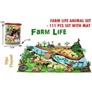 SMALL BERRY-Exclusive Animal Play Sets (Farm Life Animals Play Set- 111 PCS with Play MAT)