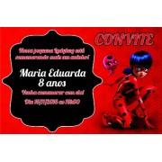 10 Convites Miraculous Ladybug e Cat Noir 10x7 cm
