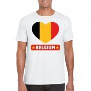 Bellatio Decorations Belgische vlag in hartje shirt wit heren