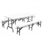 vidaXL összehajtható kerti asztal két paddal HDPE és acél 180 cm