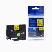 Brother TZ-611 / TZe-611, 6mm x 8m, černý tisk / žlutý podklad kompatibilní