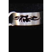 Стоманен гравиран пръстен с татуировка модел 5- размер 18