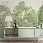 LHFLHI Sudeste Asiático Retro Dibujado A Mano Hoja De Plátano Sala De Estar Sofá Dormitorio Fondo Pared Papel Pintado No Tejido Sin Costuras-430 * 300Cm