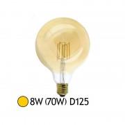 Vision-EL Ampoule Led 8W (70W) FILAMENT E27 Globe doré D125 Blanc chaud 2700°K