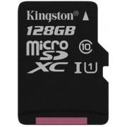 Card de memorie Kingston microSDXC, 128GB, 45 MB/s Citire, 10 MB/s Scriere, Clasa 10