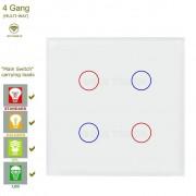 Сензорен ключ за осветление с WiFi контрол – 4 бутона (3 цвята)