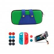 Estuche Viajero Nintendo Switch Funda + Mica + Grips - Luigi