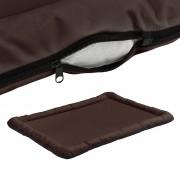 [en.casa]® Pelíšek - pro kočičky a pejsky - se zipem - oxford látka / PP-bavlna - 120 x 85 cm [XXL] - hnědý