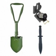 Pachet Camping format din Lopata militara pliabila multifunctionala WRG Cutit militar Shaitan Black OPS 30 cm si Busola