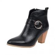 KCPer shoes KCPer Botas de tobillo para mujer con aberturas en V profundas y talón apilado, Negro, 9 M US