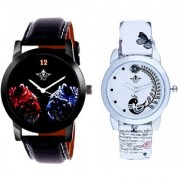 Red-Blue Jaguar And White Peacock Feathers Girls Analogue Watch By Ganesha Exim