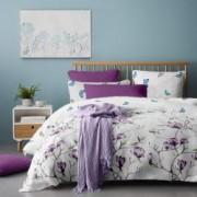 Lenjerie de pat Dormisete bumbac 100 Magnolia Tree Lila pentru pat 2 persoane XXL 4 piese 200x220 / 50x70 cearceaf pat uni mov