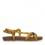 Manfield Okergele leren sandalen