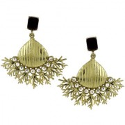 The Jewelbox Wild Flower Designer American Diamond Spinal black Antique Gold Plated Dangling Earring for Women