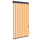 vidaXL Store roulant d'extérieur 80x250 cm Blanc et orange