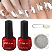 1 Silver Mirror Metallic Nail Powder With Brush + 1 Top Coat + 1 Base Gel