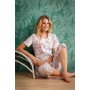 Pastunette Doorknoop dames pyjama driekwart broek