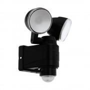 Proiector LED dublu orientabil cu senzor crepuscular si de miscare, negru, 2x4W, alb rece lumina zilei 6500K