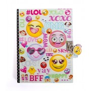 "Hot Focus Emoji Secret Diary with Lock – 7"" Journal Notebook with 300 Double Sided Lined Pages, Padlock and Two Keys for Kids"