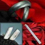 Svatební set - snubní prsteny, naušnice a spona na kravatu