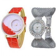i DIVA'S Red Simple Diamond Dial Leather Silver Zula Metal Analog Watch For Women Girls Pack Of 2