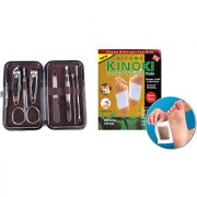 FREE 2 Pcs. Pack of Kinoki Gold Foot Patches With 7 in 1 Pedicure/Manicure Set Nail Clippers (Grooming Kit)